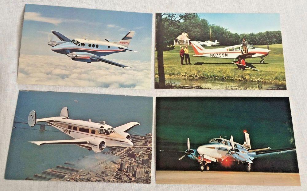 4 Vintage Beechcraft Airplane Postcards Musketeer Queen