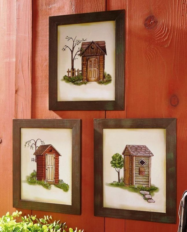 Country lodge his hers outhouse fabric shower curtain for His and hers bathroom set