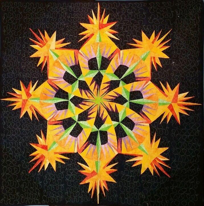 Kaleidoscope on Black Quilt Wall Art | eBay | Mandalas from ...