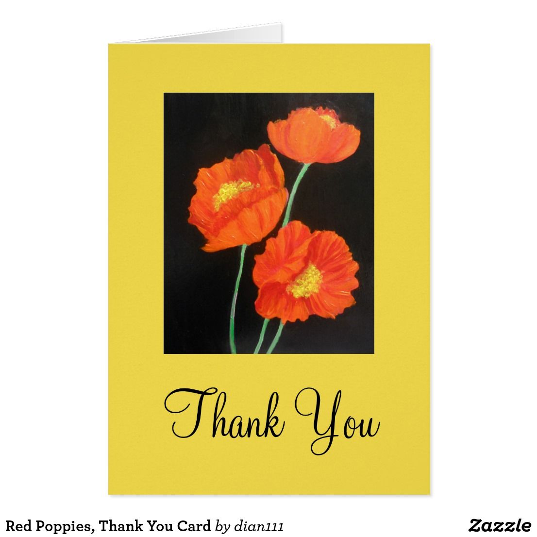 Red Poppies Thank You Card Greeting Cards Designed By Me Pinterest
