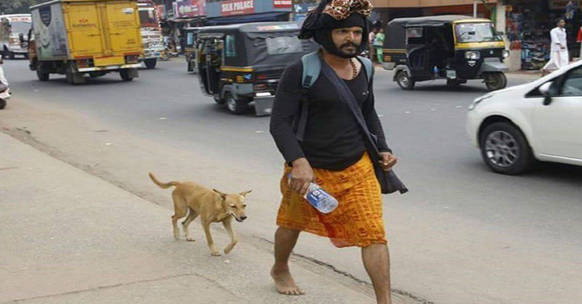 Esta perra caminó 600 km acompañando a un peregrino llamado Naveen, él vio a Malu por primera vez el 8 de diciembre y ahora son familia.