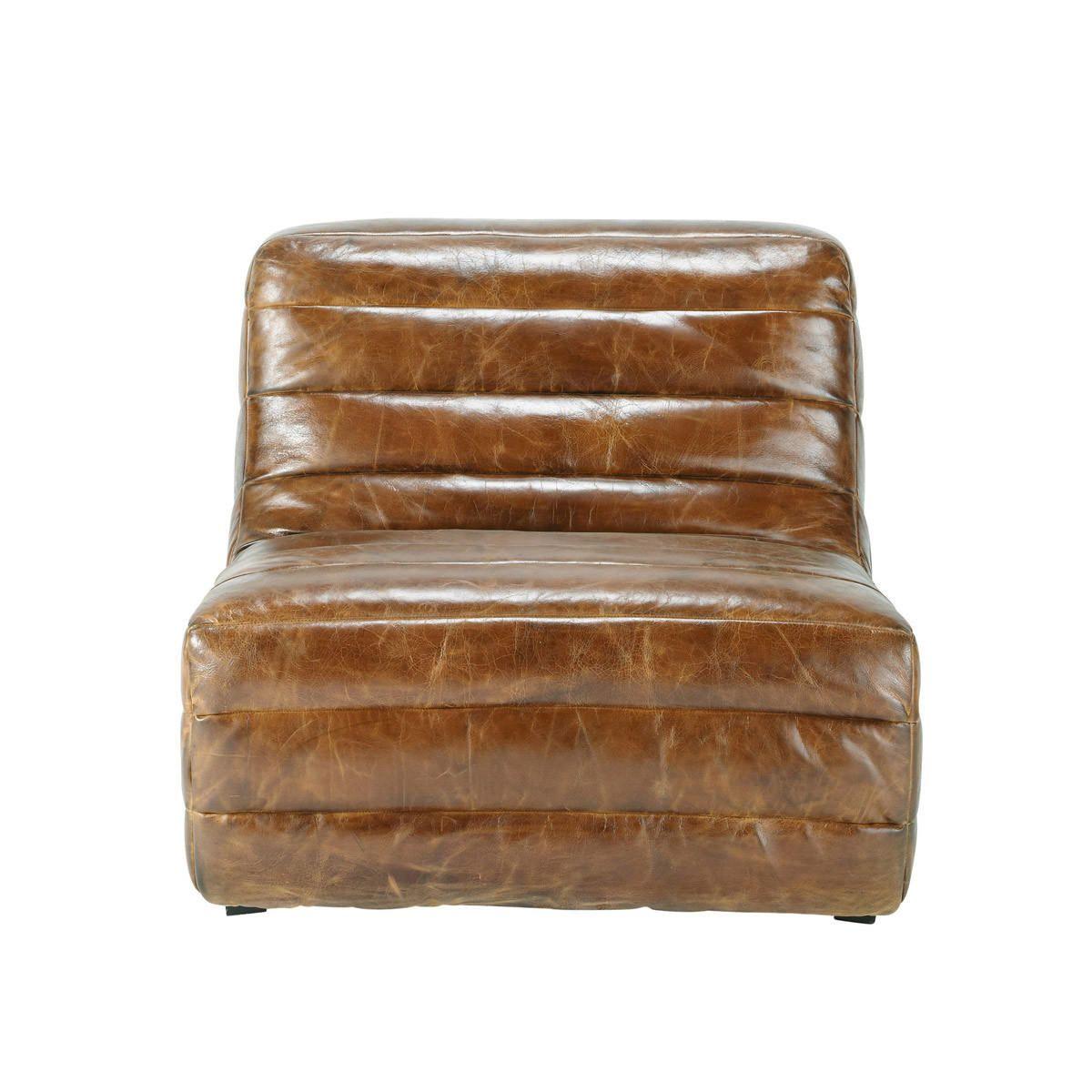 Fauteuil cuir marron vintage Stuttgart