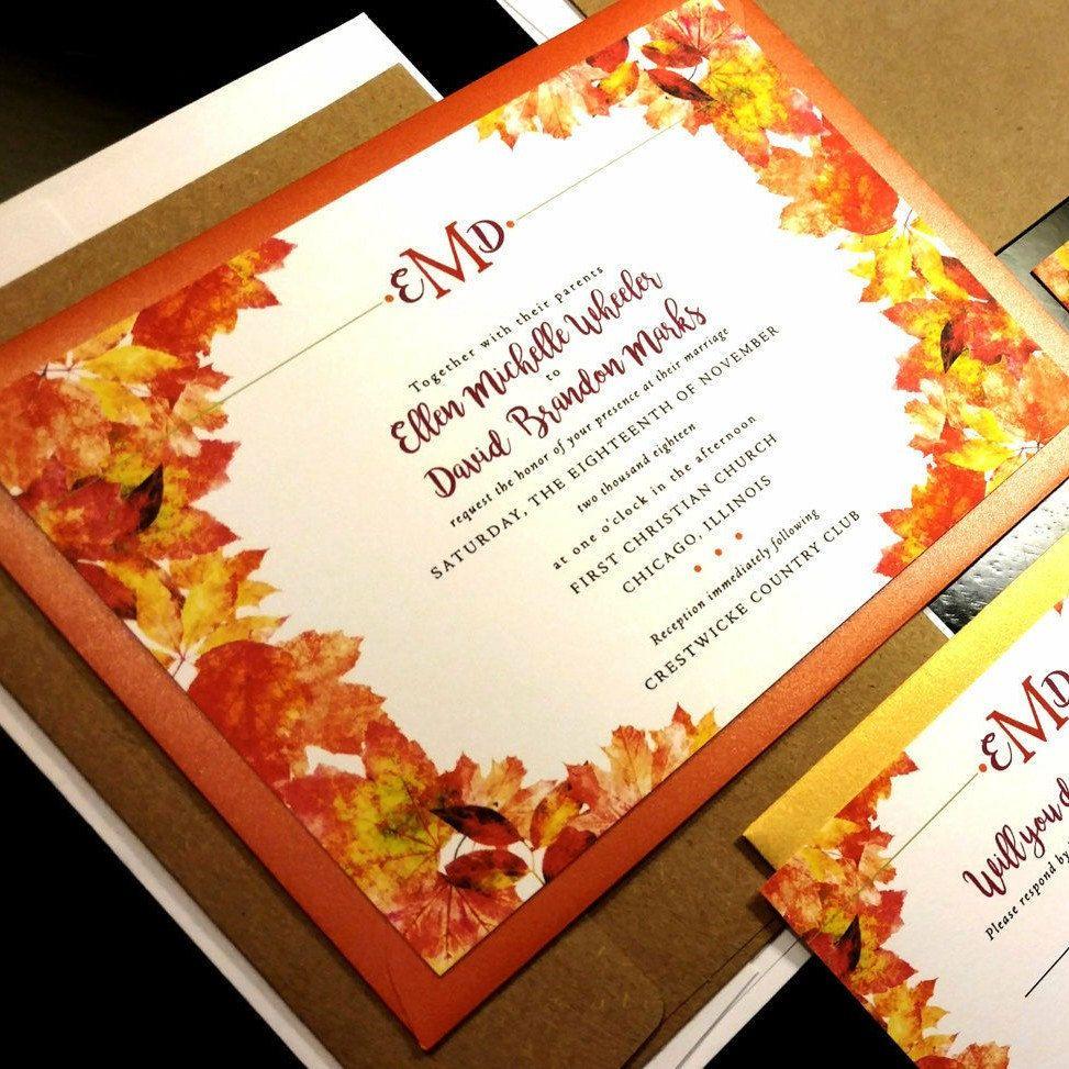 Fall Watercolor Flourish Damask Monogram Custom Wedding Invitation ...