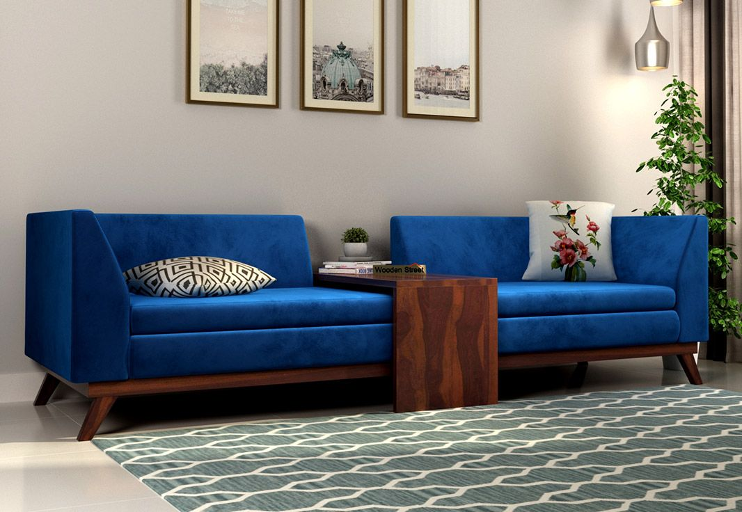 Buy Christoph Fabric Sofa Set Velvet Indigo Blue Online In India Wooden Street Fabric Sofa Sofa Set Sofa