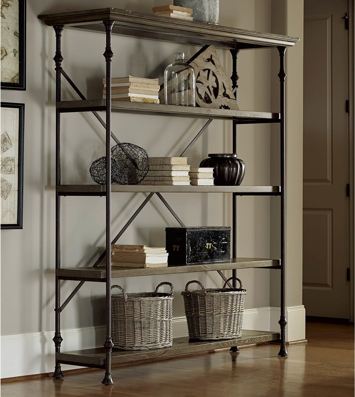 French Industrial Oak Wood Metal Bakers Rack Shelving French
