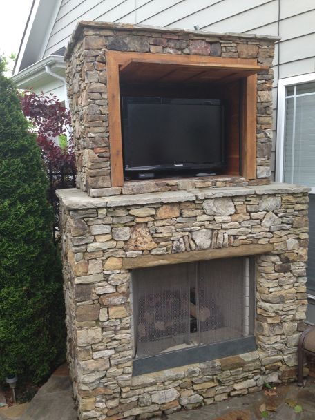 Outdoor Fireplace With Tv Eden Farms Landscaping By Eden Farms In