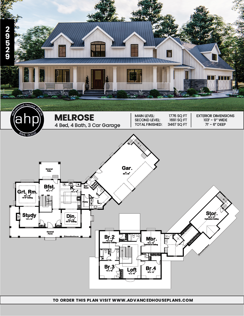 2 Story Modern Farmhouse House Plan Melrose Modern Farmhouse Plans House Plans Farmhouse Basement House Plans