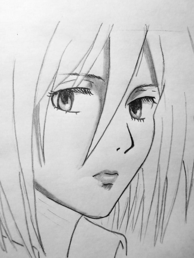 How to draw mikasa ackerman from invasion of giants with a pencil step by step 6