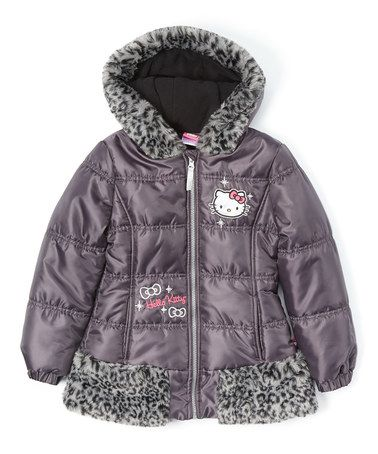 c0cbaadc8 Love this Charcoal Hello Kitty Leopard Faux Fur Puffer Coat - Girls on  #zulily! #zulilyfinds