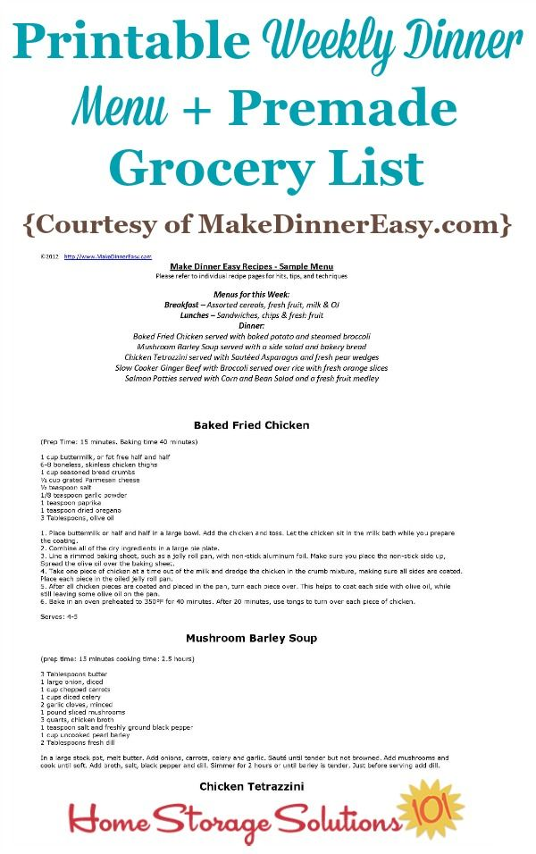 Printable Weekly Dinner Menu With Premade Grocery List Sample