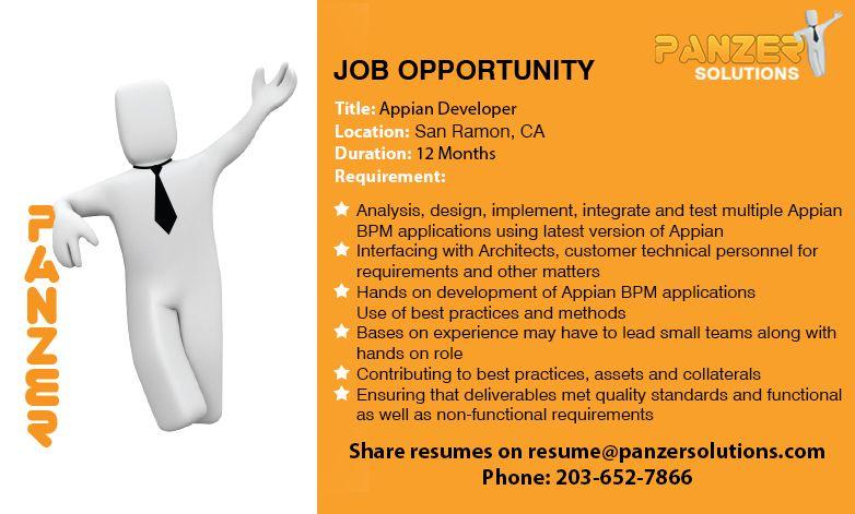Appian Developer in 2020 Job opportunities, Job opening
