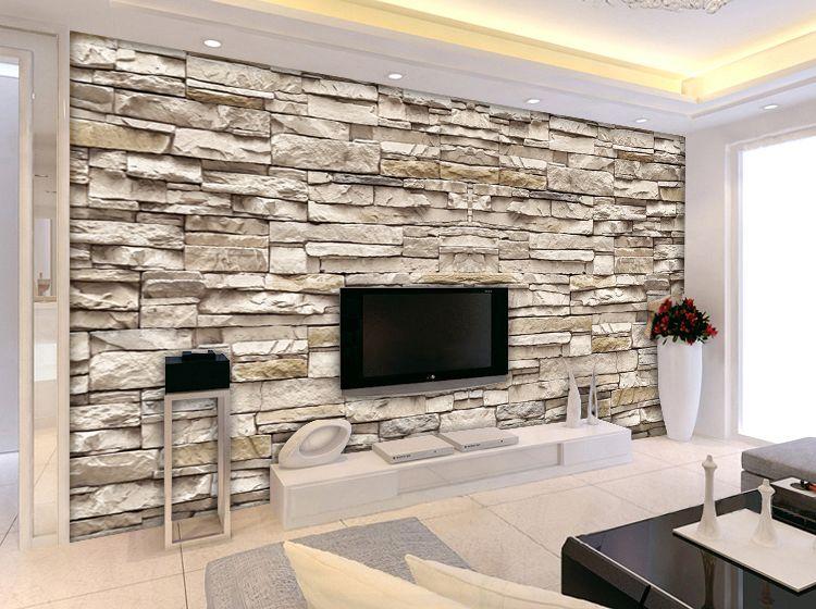 Image u2026 Pinteresu2026 - wohnzimmer tv steinwand
