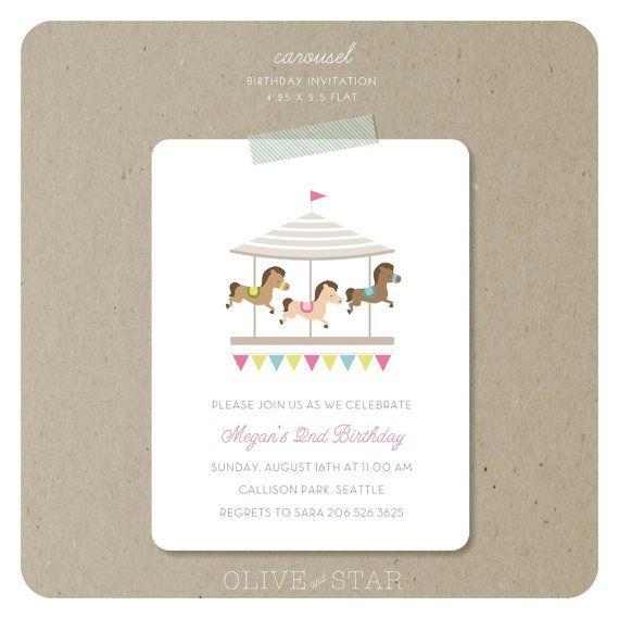 carousel birthday invitation set – Carousel Party Invitations