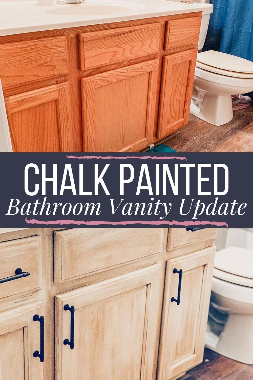 Oak Vanity Update With Rustoleum Chalk Paint Glaze In 2021 Diy Bathroom Vanity Makeover Painted Vanity Bathroom Diy Bathroom Makeover