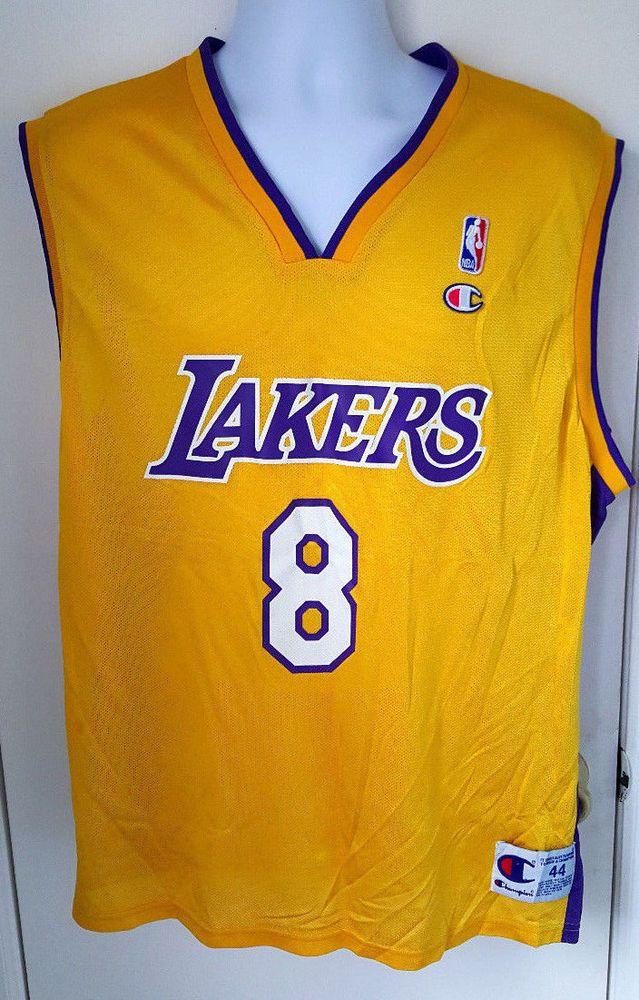 2914a506481 VTG Champion NBA Los Angeles Lakers Kobe Bryant Rookie 8 Jersey sz 44  Farewell  Champion  LosAngelesLakers