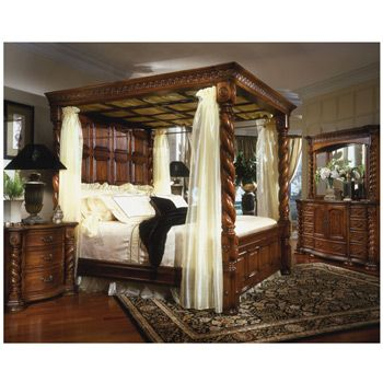 Aico brittany collection brittany bedroom set decor - Four poster king size bedroom sets ...
