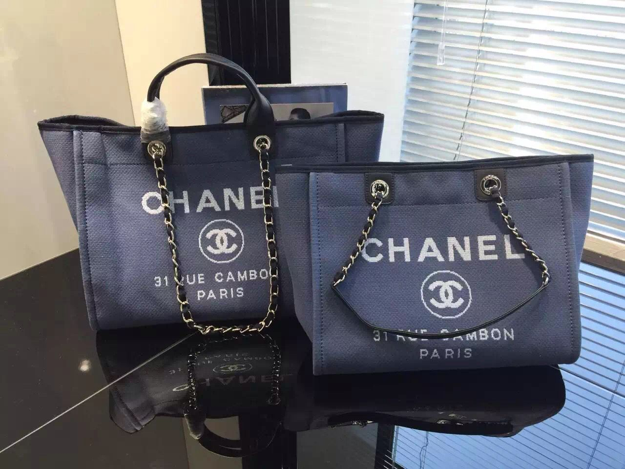 d1c1eb8342ea3f Chanel Toile Deauville Canvas Shopping Tote Bag 2015-2016 Collection |  HANDBAG HAVEN | Pinterest