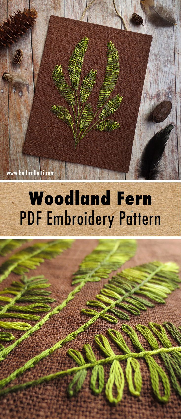 Fern plant embroidery pattern digital download nature in