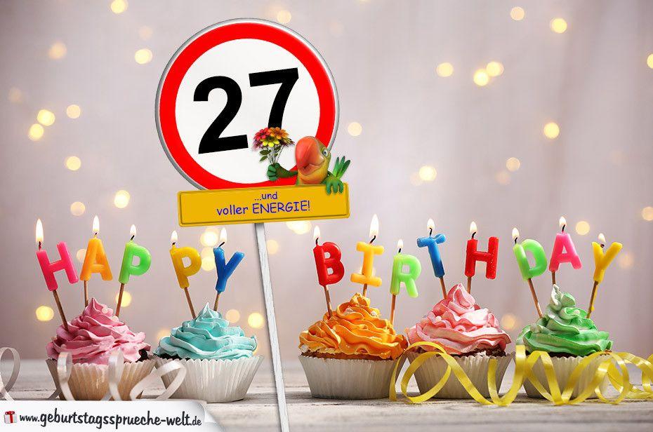 27 Geburtstag Geburtstagswuensche Mit Schild Und Alter Auf Karte