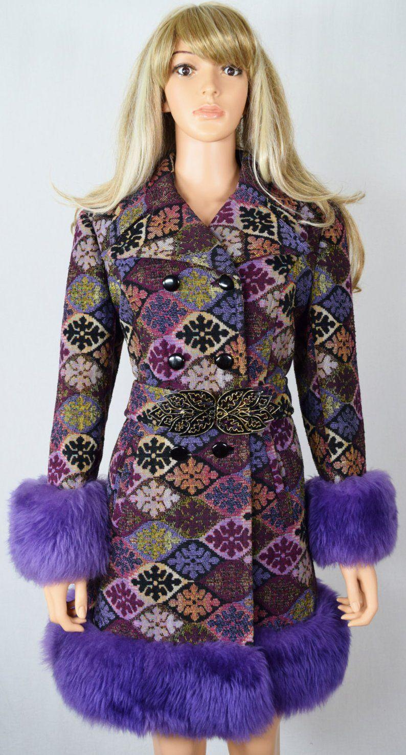 Sold Do Not Buy Vintage 1960 S Colorful Carpet Embroidered Tapestry Purple Shearling Trimmed Hippie Boho Coat Size M Boho Coat Fashion Vintage Coat