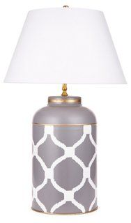 Deuce Tea Caddy Table Lamp, Dove Gray