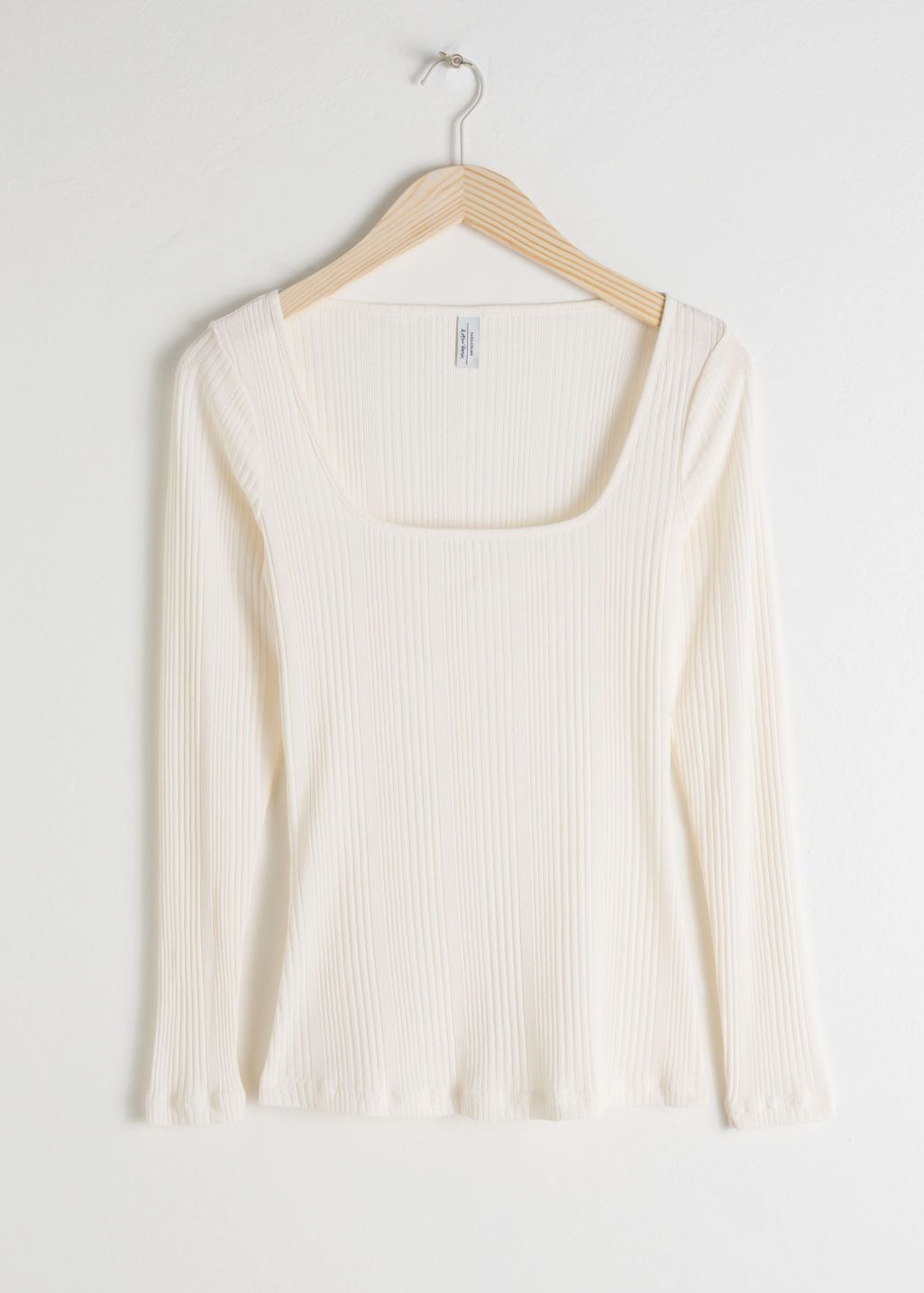 f46b23d3b705f Fitted Square Neck Top - White - Long Sleeve Tops -   Other Stories ...