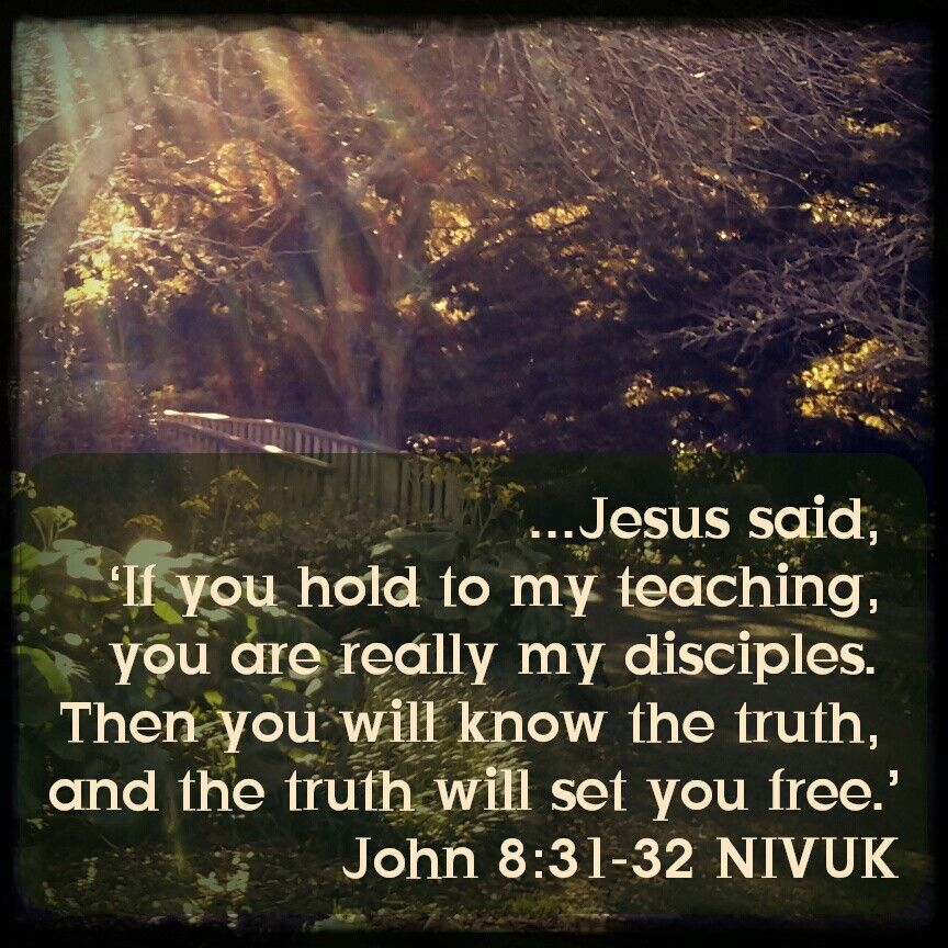 ...Jesus said, 'If you hold to my teaching, you are really my disciples. Then you will know the truth, and the truth will set you free.'  John 8:31-32 NIVUK