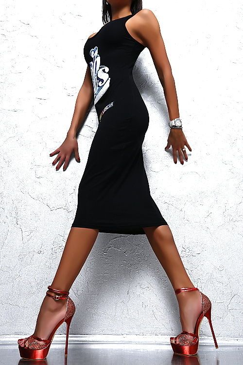 Neu Luxus 2018 Fashion Sexy Fit F47 Stretch Damen Top Black Dress ...