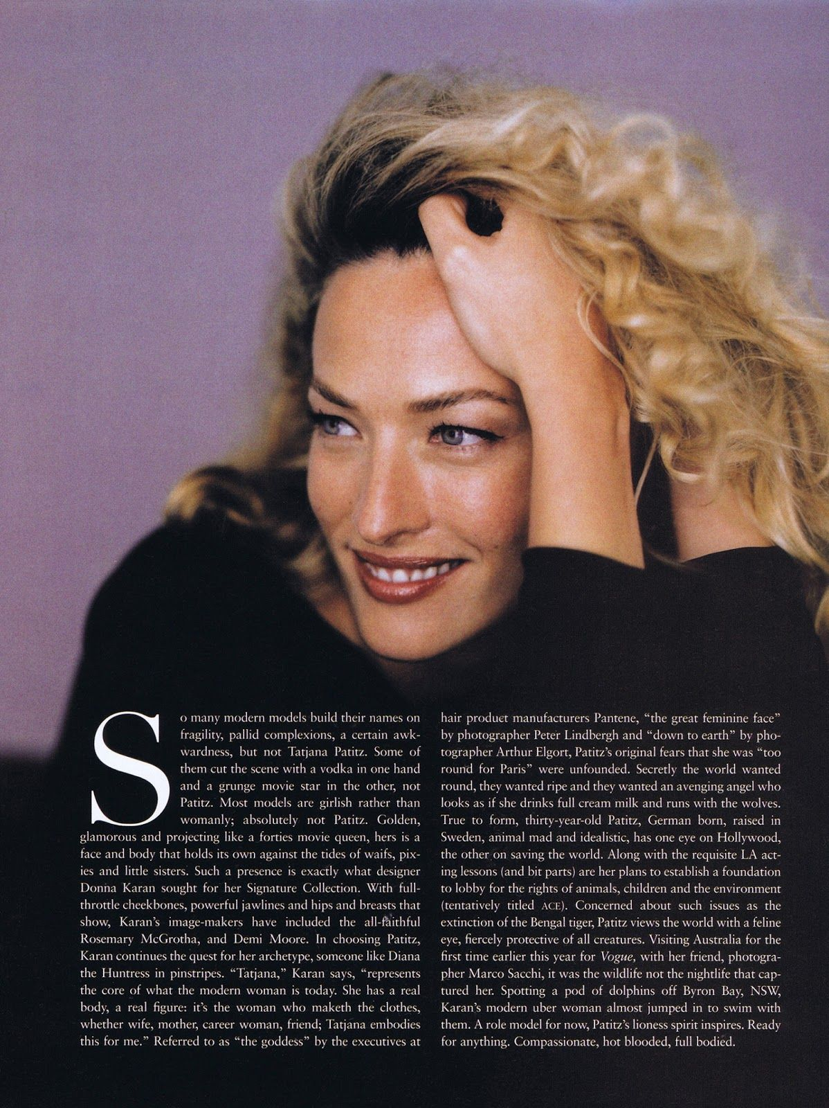 Tatjana Patitz by Marco Sacchi for Vogue Australia, May 1997