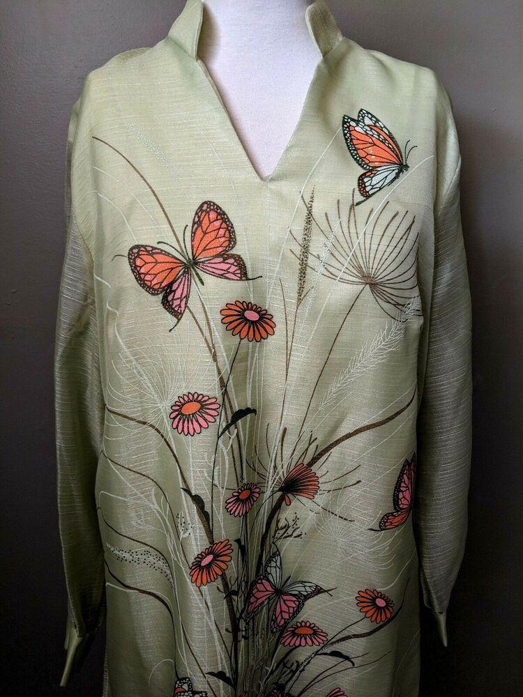 b3129c74791 Shaheen Floral Butterfly Shift Dress Maxi Long Sleeves Green 14   AlfredShaheen  Maxi