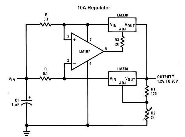 following circuit diagram is a 15a dc voltage regulator based lm338lm338 adjustable power supply 5a circuits power supply circuit 1 2v 20v 10a adjustable dc power