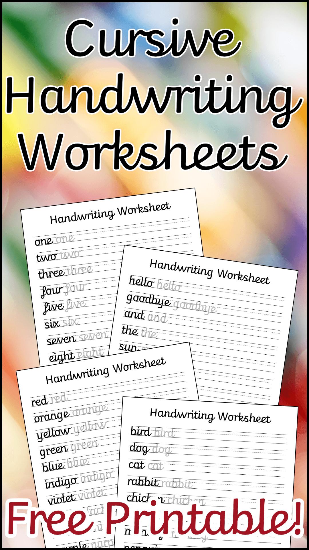 Cursive Handwriting Worksheets Free Printable With