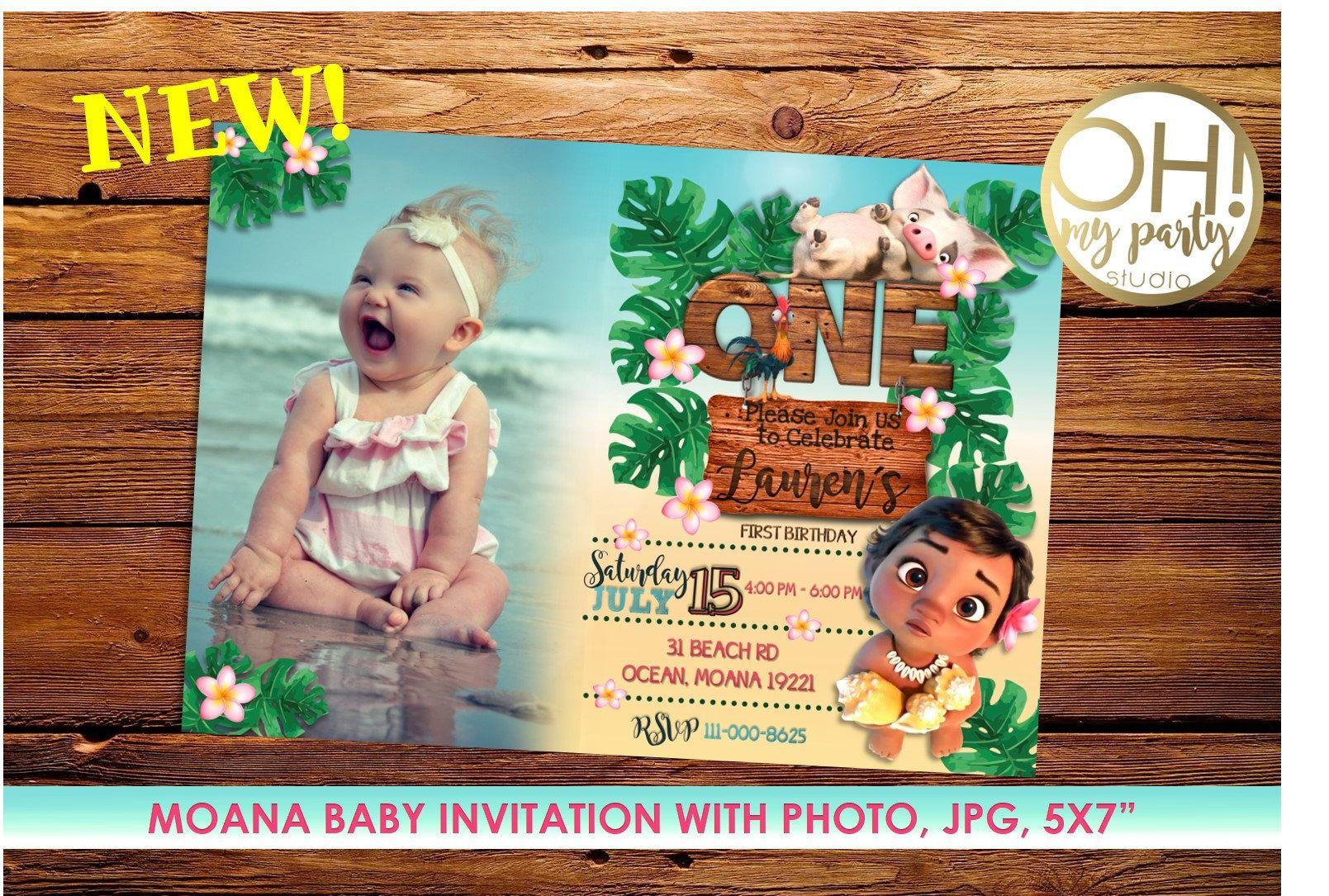 Moana Invitation With Photo Birthday Baby