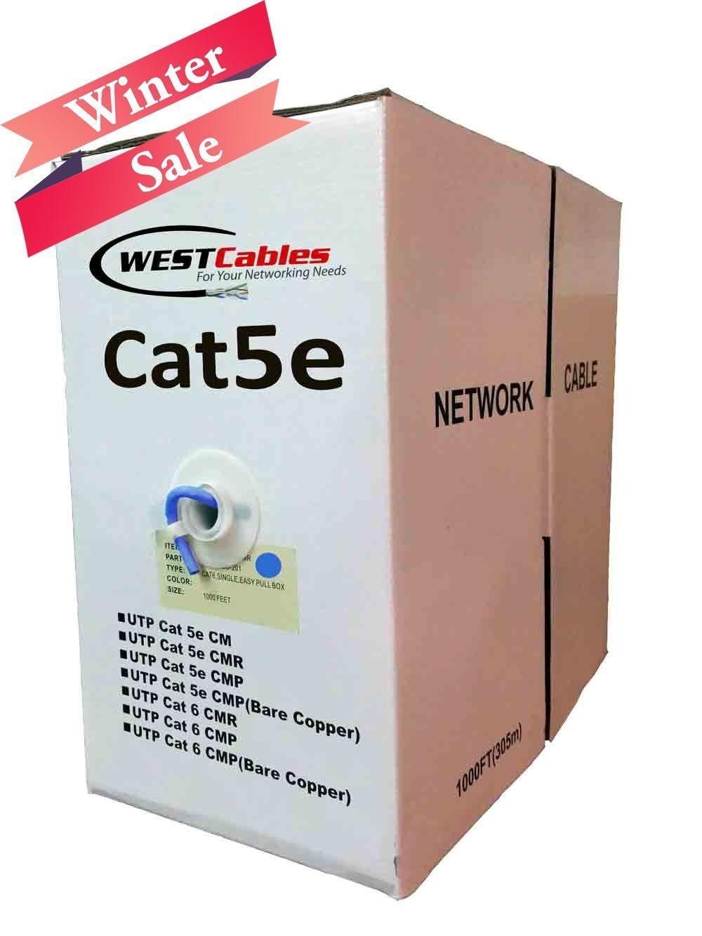 Bulk CAT5E Plenum 1000FT 350MHZ 24AWG Solid Network Cable UTP CMP White