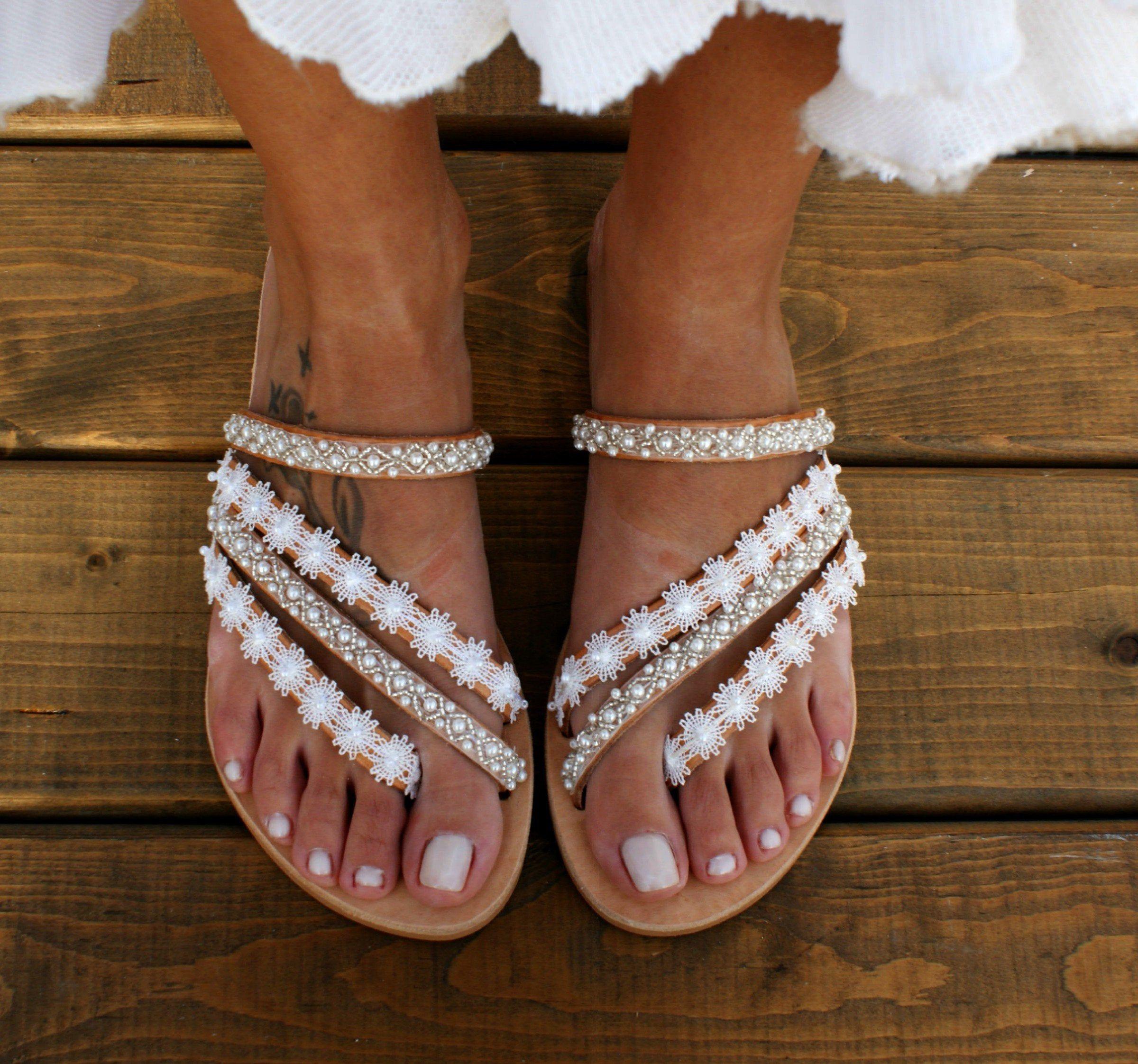 Greek White Wedding Sandals Bridal Sandals Wedding Sandals White Dress Sandals Wedding White Sandals Wedding White Flat Sandals