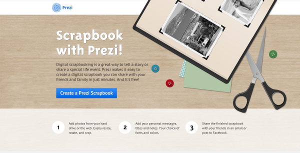 a great option the scapbook template http prezi com scrapbook