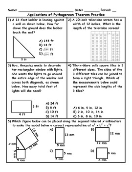 Applications Of The Pythagorean Theorem Word Problems Plus Spiral Review Word Problems Spiral Review Pythagorean Theorem