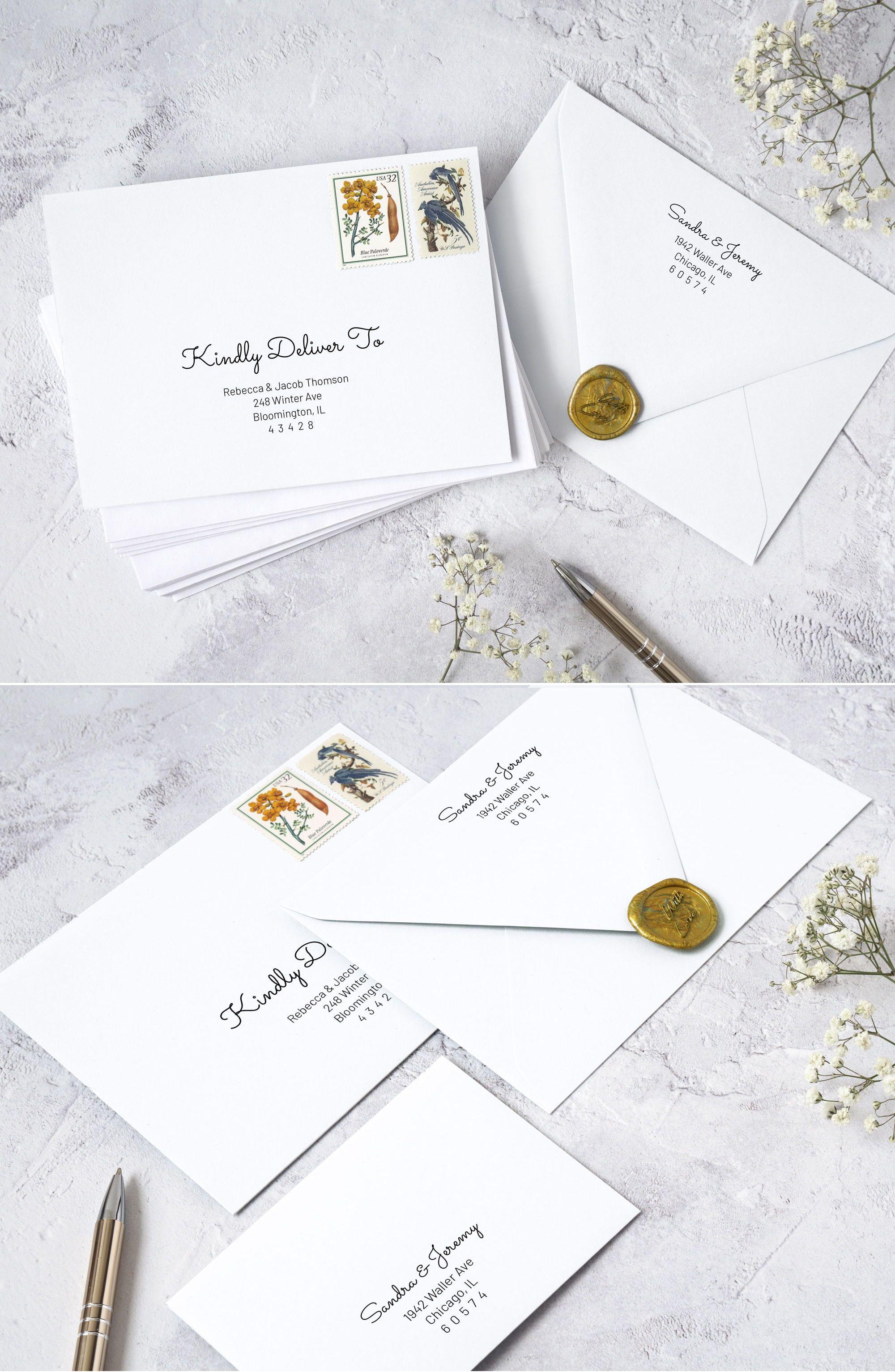 Modern Calligraphy Envelope Addressing Template. Modern
