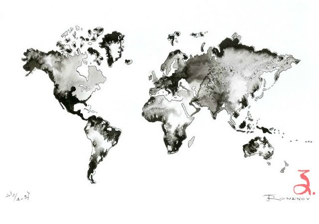 Etsy world map products i love pinterest tattoo and tatoo world map original painting watercolor ink artwork fine art contemporary abstract black white wall decor modern picture illustration gumiabroncs Choice Image