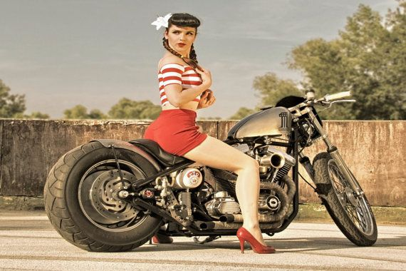 Ratrod Harley Davidson Motorcycle Rockabilly Retro Sexy -4002