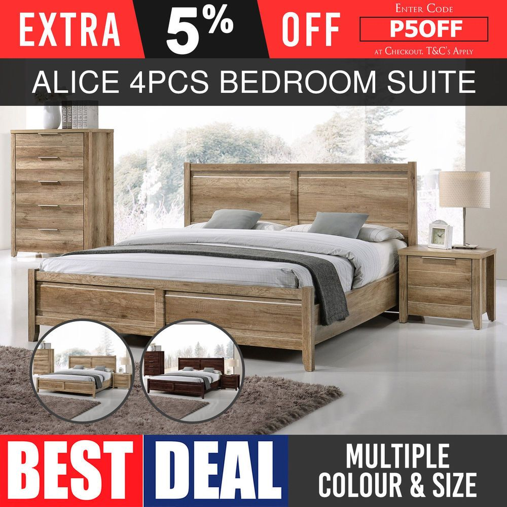 Bedroom Suite Mdf Aesthetic Strong Legs 4pcs Multiple Size Amp