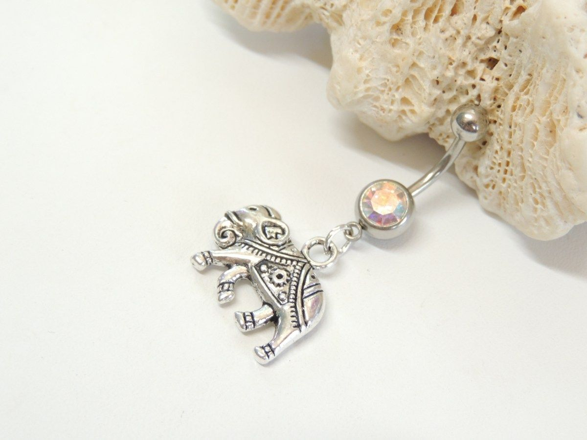 Belly button piercing stud  Indian Elephant Belly Button Ring Silver Lucky Elephant Navel Ring