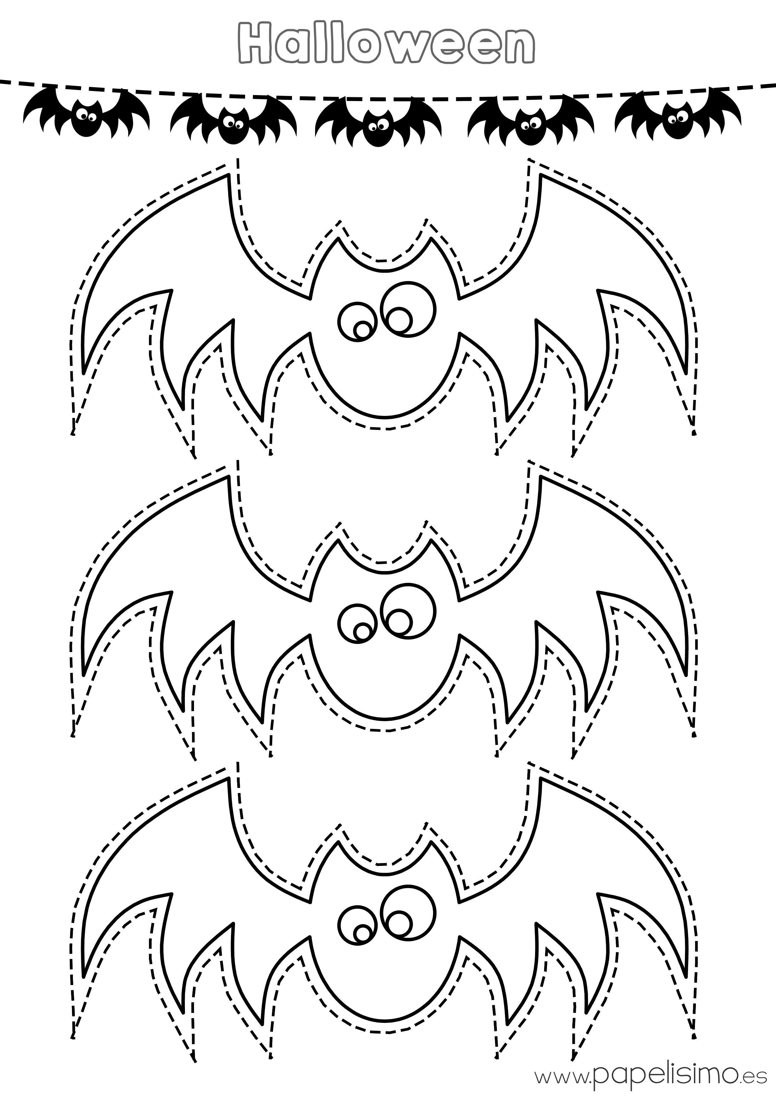 Plantilla-murcielagos-colorear-y-recortar-guirnalda-de-papel | Otoño ...
