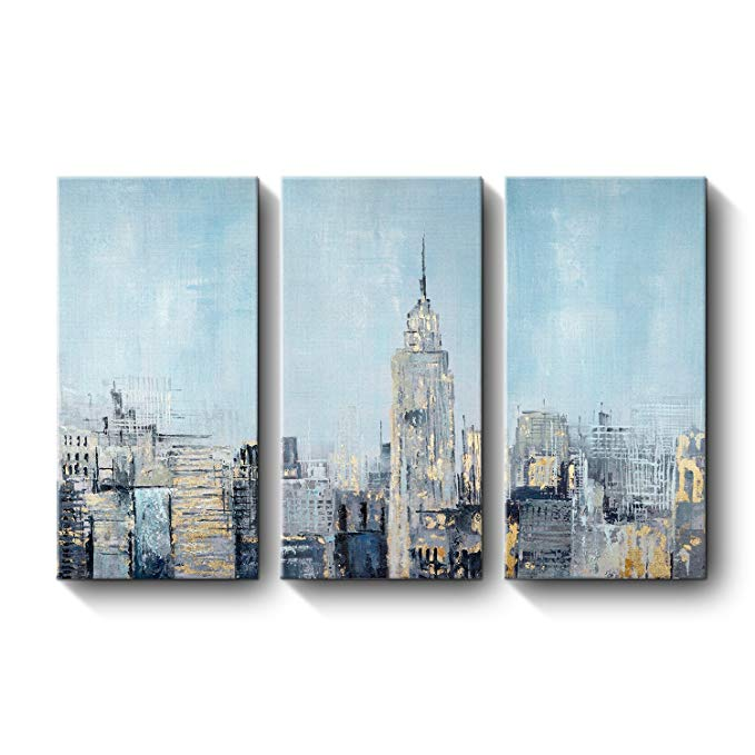 Amazon Com 3 Piece Landscape Painting Large Abstract Modern Wall Art For Living Room Bedroom Colorful Chicago Skyline Oil Pai City Scape Painting Painting Art