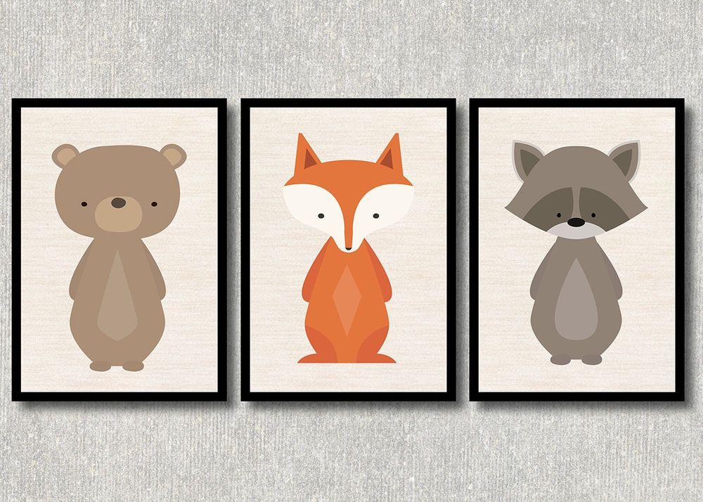Details zu Bild Set Wald Tiere Kunstdruck A4 Bär Fuchs Waschbär ...
