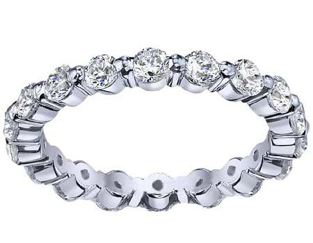 single prong eternity rings showcase more of the diamonds and less of the metal.