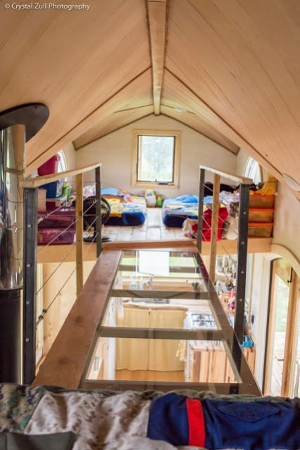 Here Is A Simple Creative Solution If You Need More Loft Space What About Two Lofts With A Cool Mini Skywa Tiny House Loft Tiny House Bedroom Best Tiny House