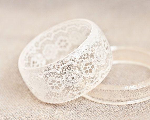 Resin Bangle Bracelet Vintage French Lace Cream Ivory by daimblond