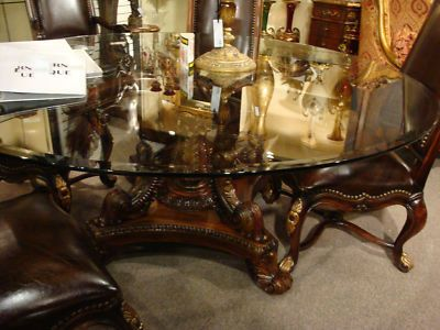 Elegant 72 Round Dining Table Carved Mahogany Base Glass Top