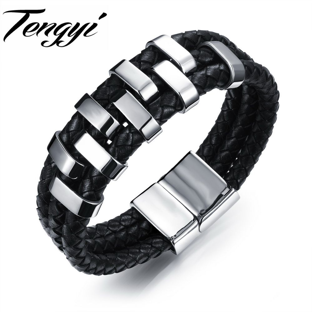 Sporty men black multilayer leather bracelet stainless steel